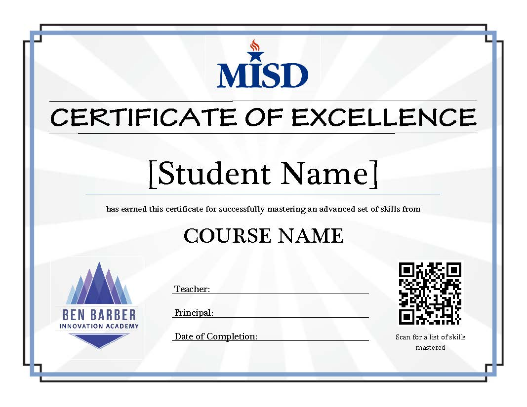 MISD Completion Certificate (Student)